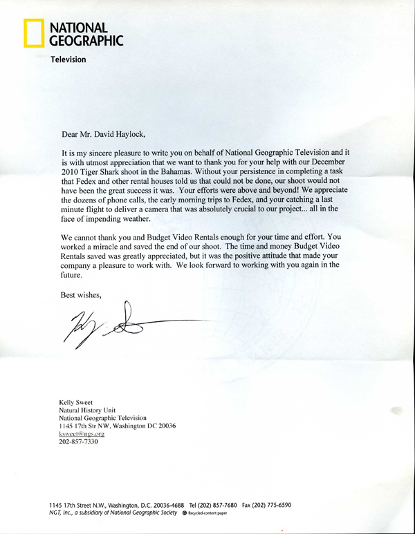 Budget Video Rentals testimonial letter from National Geographic
