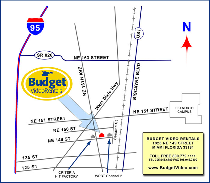 Map to Budget Video Rentals