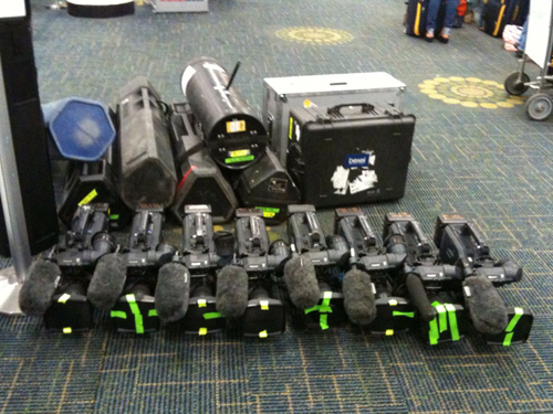 Budget Video cameras waiting at the airport