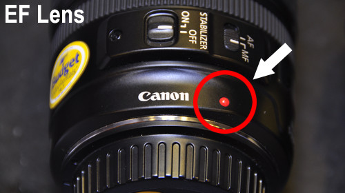 Canon EF series lenses have a red dot