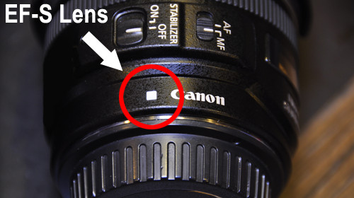 Canon EF-S series lenses have a white square