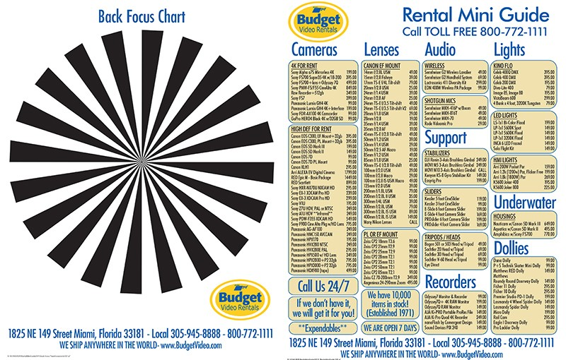 Budget Video Rentals Backfocus and Mini Rental Guide
